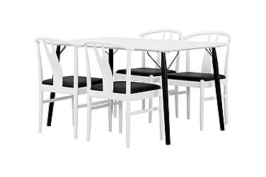 CLAIRE Pöytä 140 + 4 HUGO tuolia Valkoinen/Musta