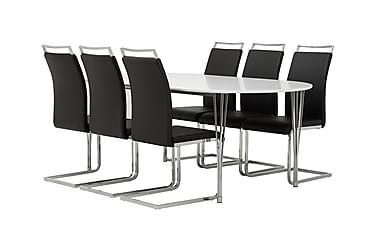 GEORGE Pöytä 180 Valk + 6 Robledo tuolia Musta