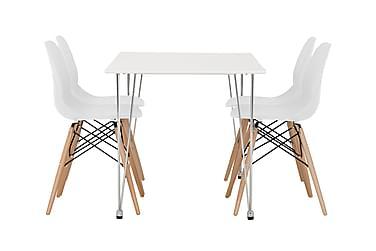 KRONBERG Pöytä 120 Matta + 4 RANA tuolia Vit