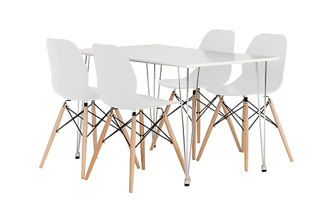 KRONBERG Pöytä 120 Matta + 4 RANA tuolia Vit - Huonekalut - Ruokailuryhmät - Kulmikas ruokailuryhmä