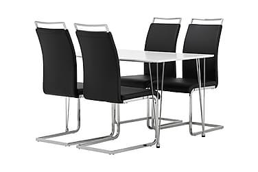 KRONBERG Pöytä 120 Valk + 4 GANNAN tuolia Musta