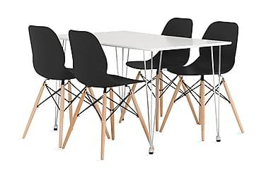 KRONBERG Pöytä 120 Valk Matta + 4 RANA tuolia Musta
