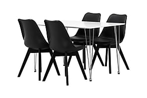 KRONBERG Pöytä 120 Valkoinen + 4 PEACE Tuoli Musta/Musta