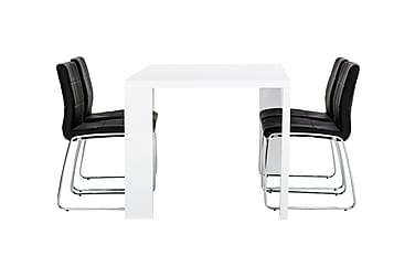 Pöytä Fiorenza 160 Valk + 4 Viskan tuolia Musta
