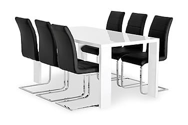 Pöytä Fiorenza 160 Valk + 6 Emån tuolia Musta