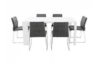 Pöytä Fiorenza 160 Valk + 6 Viskan tuolia Harmaa