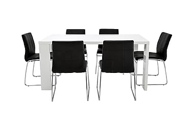 Pöytä Fiorenza 160 Valk + 6 Viskan tuolia Musta