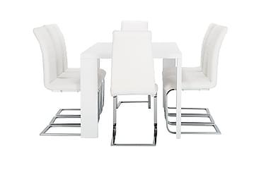 Pöytä Fiorenza 160 Valk + 8 Emån tuolia Valk
