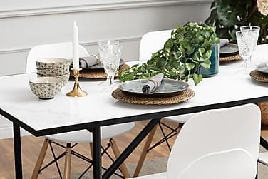Pöytä Joy 180 Marmori + 4 RANA tuolia Valkoinen/Puujalka