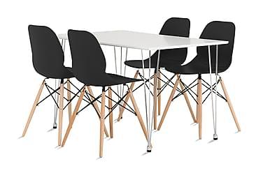 Pöytä Martian 120 Vit Matt + 4 Rana tuolia Musta