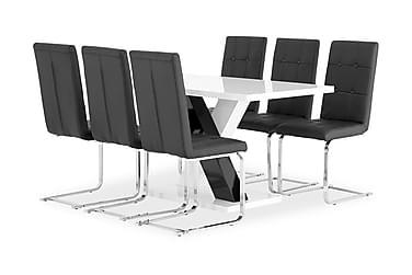 Pöytä Mendoza 140 Valk + 6 Arvån tuolia Musta