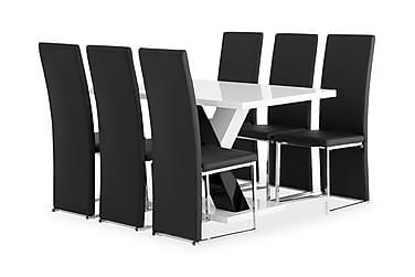 Pöytä Mendoza 140 Valk + 6 Billan tuolia Musta
