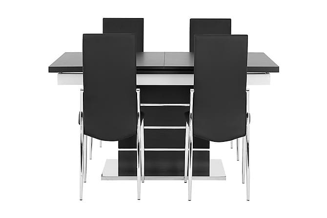 Pöytä Mueller 140 Musta/Valk + 4 Lagan tuolia Musta - Huonekalut - Ruokailuryhmät - Kulmikas ruokailuryhmä