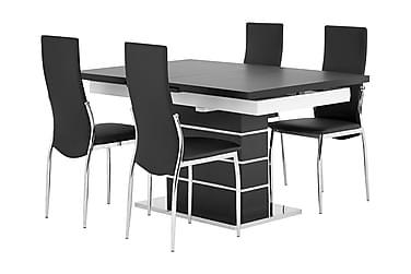 Pöytä Mueller 140 Musta/Valk + 4 Lagan tuolia Musta