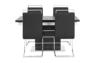 Pöytä Mueller 140 Musta/Valk + 4 Robledo tuolia Musta