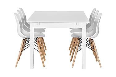 Pöytä Svensbo 180 + 6 Rana tuolia Valk/puujalat
