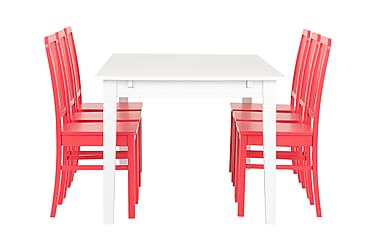 Pöytä Svensbo 180 Valk + 6 Evelina tuolia Pun
