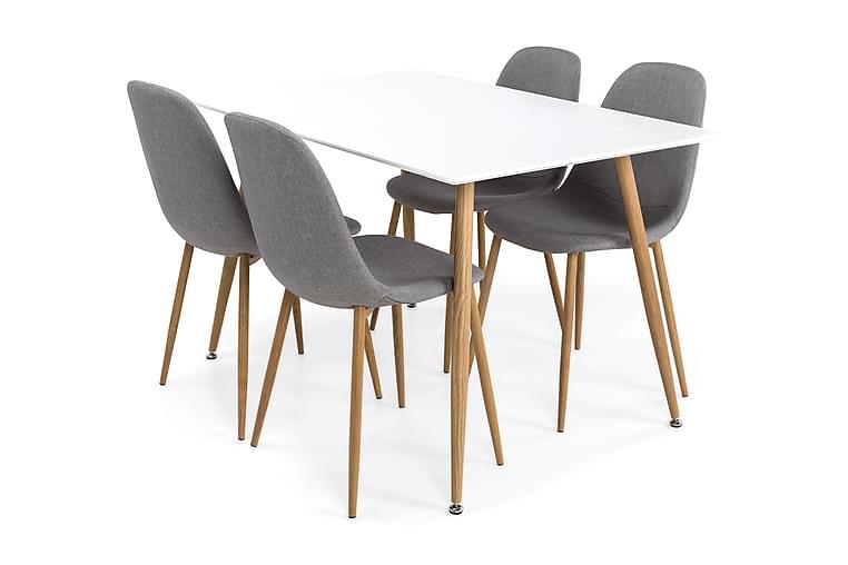 Pöytä Tommy 120 cm Tammi/Valkoinen - 4 Tuolia - Huonekalut - Ruokailuryhmät - Kulmikas ruokailuryhmä