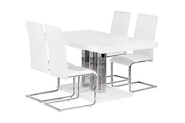 PALACE Pöytä 160 + 4 PHOENIX tuolia Valkoinen