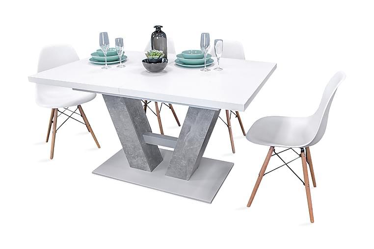 Ruokailuryhmä Alvaro Pöytä + 4 Fiore tuolia - Harmaa / Valkoinen - Huonekalut - Ruokailuryhmät - Kulmikas ruokailuryhmä