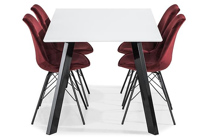 Ruokailuryhmä Eli 150 cm 4 Scale tuolilla Sametti - Valkoinen/Musta - Huonekalut - Ruokailuryhmät - Kulmikas ruokailuryhmä