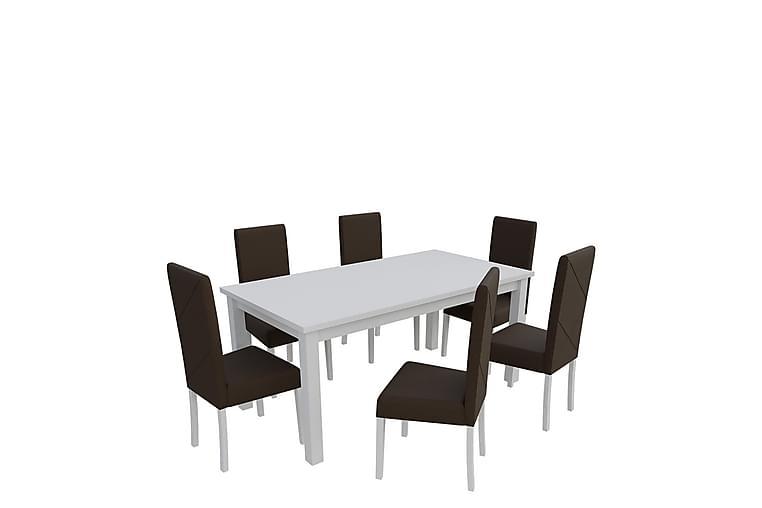 Ruokailuryhmä Esbo - Valkoinen/Ruskea - Huonekalut - Ruokailuryhmät - Kulmikas ruokailuryhmä