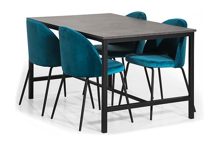 Ruokailuryhmä Evo 138 4 Tuolilla Gerardo Sametti - Betoni/Sininen/Mustat Jalat - Huonekalut - Ruokailuryhmät - Kulmikas ruokailuryhmä