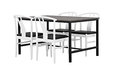 Ruokailuryhmä Evo 138 cm Betoni/Musta/valkoinen