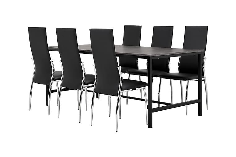 Ruokailuryhmä Evo 180 cm Betoni/Musta - 6 Henkel tuolia - Huonekalut - Ruokailuryhmät - Kulmikas ruokailuryhmä