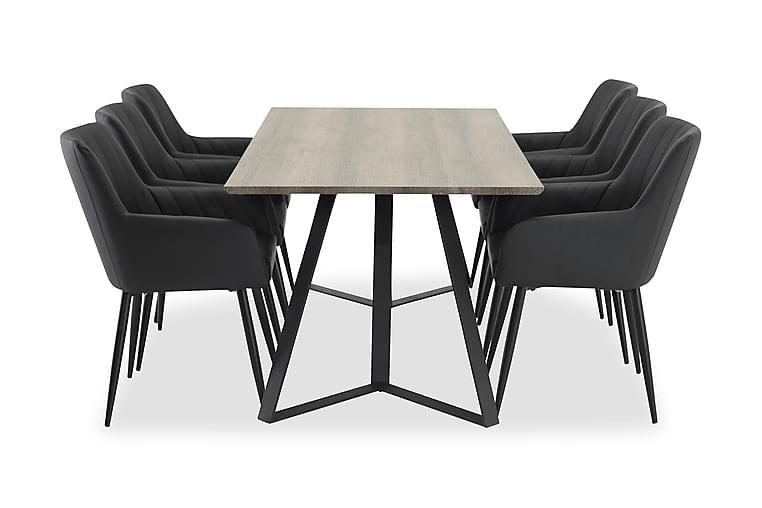 Ruokailuryhmä Granville 6 Ulf tuolia - Harmaa/musta - Huonekalut - Ruokailuryhmät - Kulmikas ruokailuryhmä