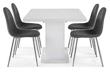 Ruokailuryhmä Griffith 120x40 cm Valkoinen/Harmaa/Kromi