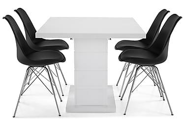 Ruokailuryhmä Griffith 120x40 cm Valkoinen/Musta/Kromi