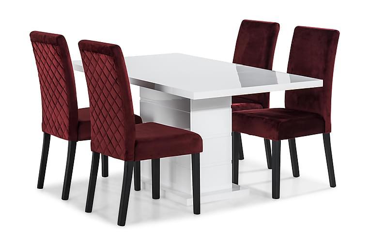 Ruokailuryhmä Griffith 160 cm 4 Max tuolilla - Valkoinen/Punainen - Huonekalut - Ruokailuryhmät - Kulmikas ruokailuryhmä