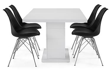 Ruokailuryhmä Griffith 160x40 cm Valkoinen/Musta/Kromi