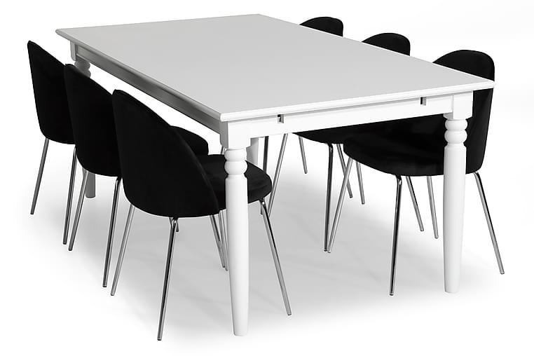 Ruokailuryhmä Hampton 190 6 Tuolilla Gerardo Sametti - Valkoinen/Musta/Kromi Jalat - Huonekalut - Ruokailuryhmät - Kulmikas ruokailuryhmä