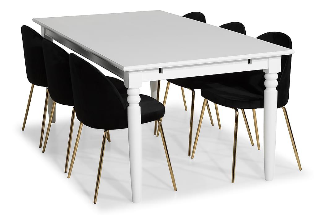 Ruokailuryhmä Hampton 190 6 Tuolilla Gerardo Sametti - Valkoinen/Musta/Messinki - Huonekalut - Ruokailuryhmät - Kulmikas ruokailuryhmä