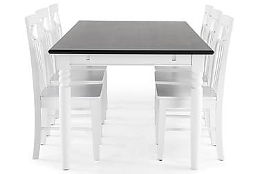 Ruokailuryhmä Hampton 190 cm Mahonkiviilu Valkoinen/Musta