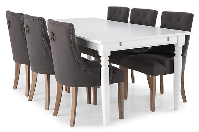 Ruokailuryhmä Hampton 190 cm Valkoinen/Harmaa - 6  Ophelia tuolia Vintage - Huonekalut - Ruokailuryhmät - Kulmikas ruokailuryhmä