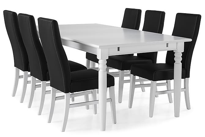 Ruokailuryhmä Hampton 190 cm Valkoinen/Musta - 6  Max tuolia - Huonekalut - Ruokailuryhmät - Kulmikas ruokailuryhmä