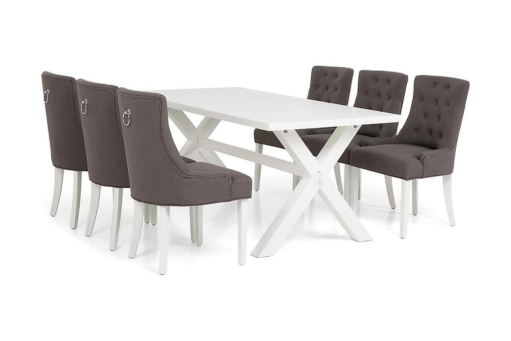 Ruokailuryhmä Hannah 180cm 6 Ophelia nojatuolilla - Valkoinen/Harmaa - Huonekalut - Ruokailuryhmät - Kulmikas ruokailuryhmä