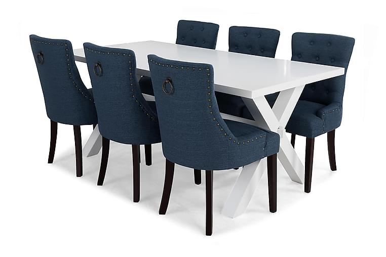 Ruokailuryhmä Hannah Valkoinen/sininen - 6 Ophelia tuolia - Huonekalut - Ruokailuryhmät - Kulmikas ruokailuryhmä