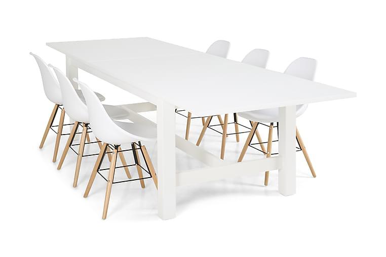 Ruokailuryhmä Isadora Valkoinen 6 Raja tuolia - Valkoinen - Huonekalut - Ruokailuryhmät - Kulmikas ruokailuryhmä