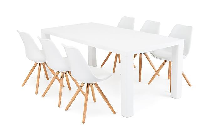 Ruokailuryhmä Jack 6 Anton tuolilla Valkoinen/tammi - Huonekalut - Ruokailuryhmät - Kulmikas ruokailuryhmä