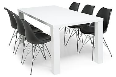 Ruokailuryhmä Jack Valkoinen 6 Shell tuolilla Musta/Kromi