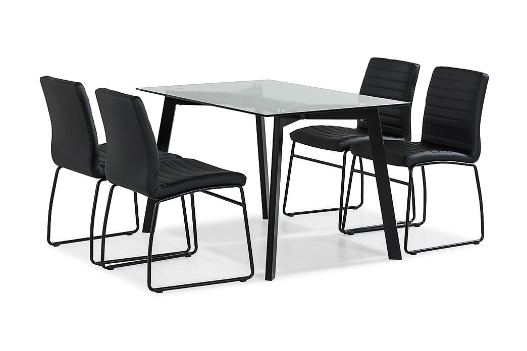 Ruokailuryhmä Jaunita 120 cm 4 Emeric tuolia - Lasi/Musta - Huonekalut - Ruokailuryhmät - Kulmikas ruokailuryhmä