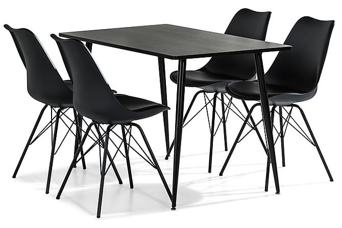 Ruokailuryhmä Jaunita 120 cm 4 Naira tuolia - Ruskea/Musta - Huonekalut - Ruokailuryhmät - Kulmikas ruokailuryhmä