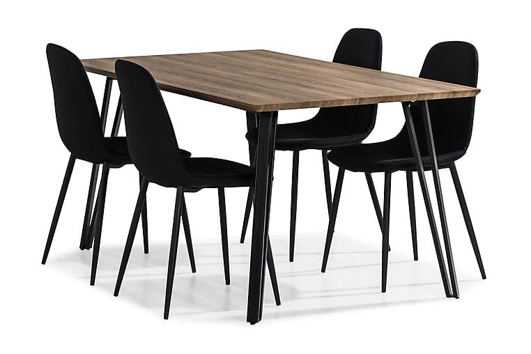 Ruokailuryhmä Jaunita 160 cm 4 Naira tuolia - Ruskea/Musta - Huonekalut - Ruokailuryhmät - Kulmikas ruokailuryhmä