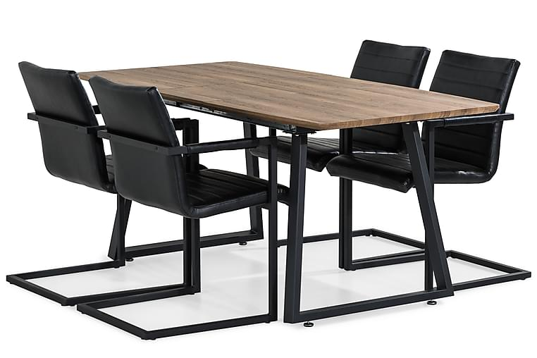 Ruokailuryhmä Jaunita Jatkettava 140 cm 4 Dutch tuolia - Ruskea/Musta - Huonekalut - Ruokailuryhmät - Kulmikas ruokailuryhmä