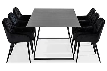 Ruokailuryhmä Kaj 200 cm 6 Giovanni tuolilla Sametti