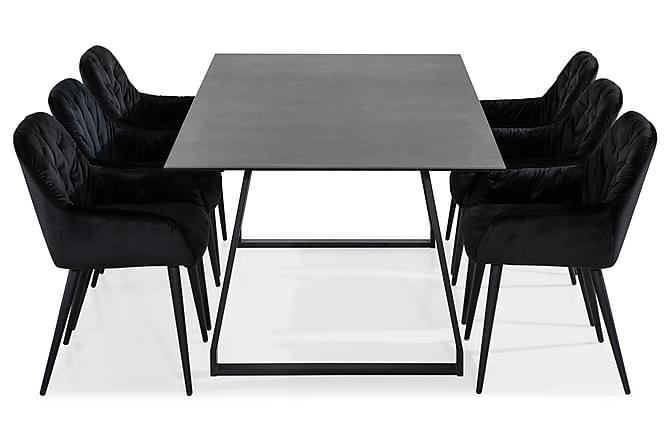 Ruokailuryhmä Kaj 200 cm 6 Giovanni tuolilla Sametti - Huonekalut - Ruokailuryhmät - Kulmikas ruokailuryhmä